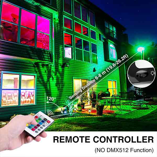 Onforu 2 Pack 60W RGB LED Flood Lights with Remote Control, IP66 Waterproof Dimmable Color Changing Floodlight, 16 Colors 4 Modes Wall Washer Light, Outdoor Indoor Decorative Garden Landscape Lighting.