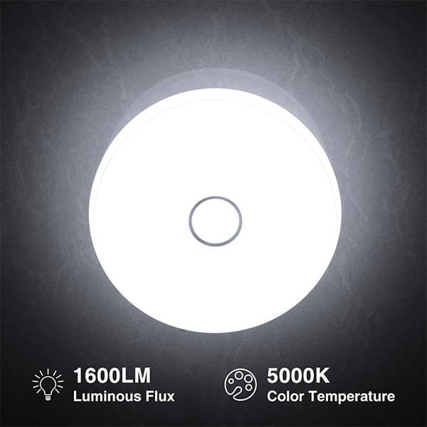 Onforu Waterproof 18W LED Ceiling Lights, 11 inches, CRI 90+, 150W Incandescent Bulbs Equivalent, IP65, 1600lm 5000K Daylight White Flush Mount Ceiling Light for Bathroom, Kitchen, Bedroom, Balcony