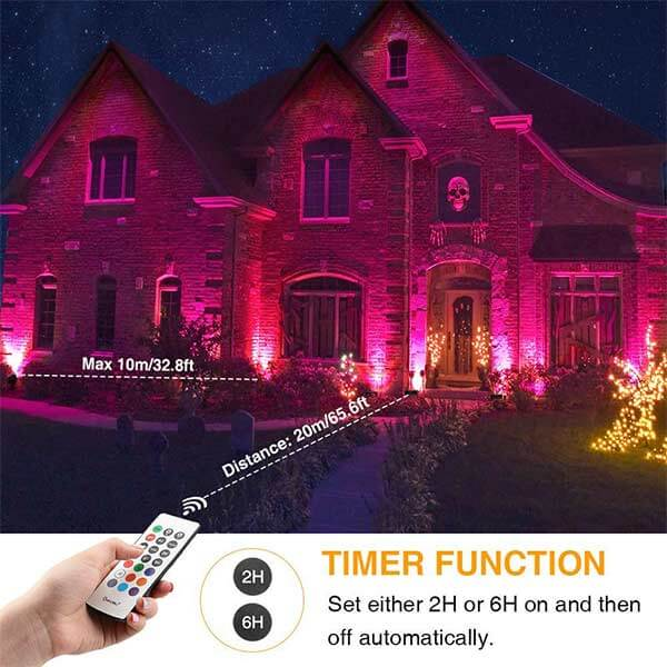 60W Bluetooth Smart RGB LED Flood Lights with Wireless Function, 2 Pack IP66 Waterproof Millions of Colors 2 Modes Outdoor Lighting