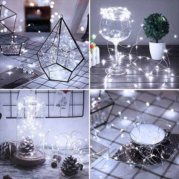 led Fairy Lights Waterproof Outdoor copper wire lamp 10ft 16 Pack