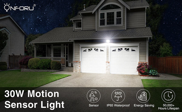 30W Outdoor Indoor Flood Light 3000 Lumens 5000k IP65 Waterproof Floodlights with Motion Sensor