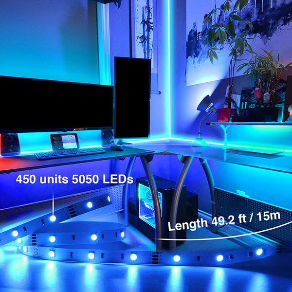 15m Flexible Color Changing Lights Strip, 450 Units 5050 RGB LED Rope Lights.