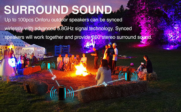 IPX5 Waterproof Wireless Pairing Speakers with LED Mood Lights for Party, Halloween, Christmas