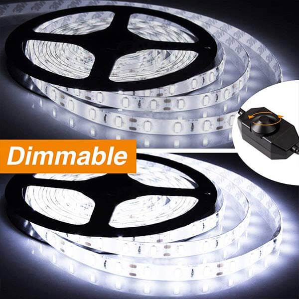 Onforu 66ft Dimmable LED Strip Lights Kit, UL Listed Power Supply, 6000K Daylight White, 20m 1200 Units 2835 LEDs, 12V LED Rope, Under Cabinet Lighting Strips with Dimmer, Non-Waterproof LED Tape.
