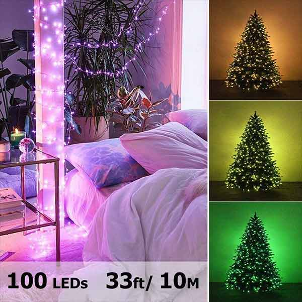 Onforu 2 Pack 33ft RGB Fairy Lights, 16 Colors Changing Outdoor String Lights, 100 LED Starry Lights with Remote & Timer, USB Powered IP65 Waterproof Lights for Parties, Christmas, Decor.