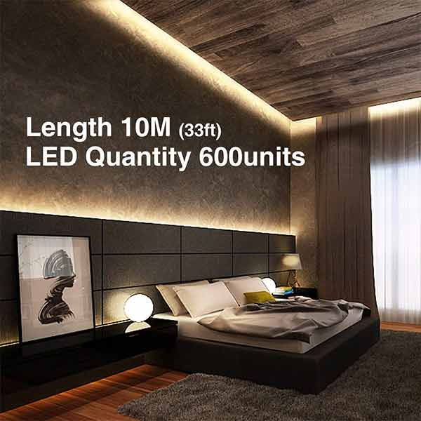Onforu 33ft Dimmable LED Strip Lights Kit, 600 Units 2835 LEDs, 12V Under Cabinet Lighting Strips, 10M LED Ribbon, Non-Waterproof Tape, 3000K Warm White