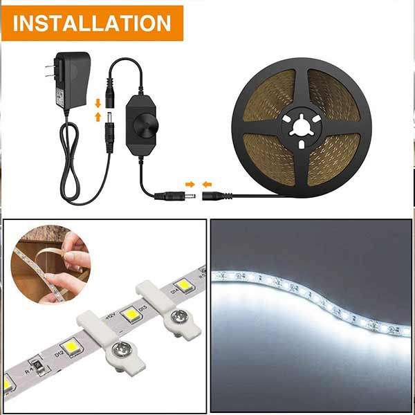 Onforu Dimmable LED Strip Lights, 16.4ft / 5m LED Vanity Mirror Lights Kit, 6000K Daylight White 300 LEDs Under Cabinet Lighting Strips, Non-Waterproof LED Tape, UL Listed Power Supply
