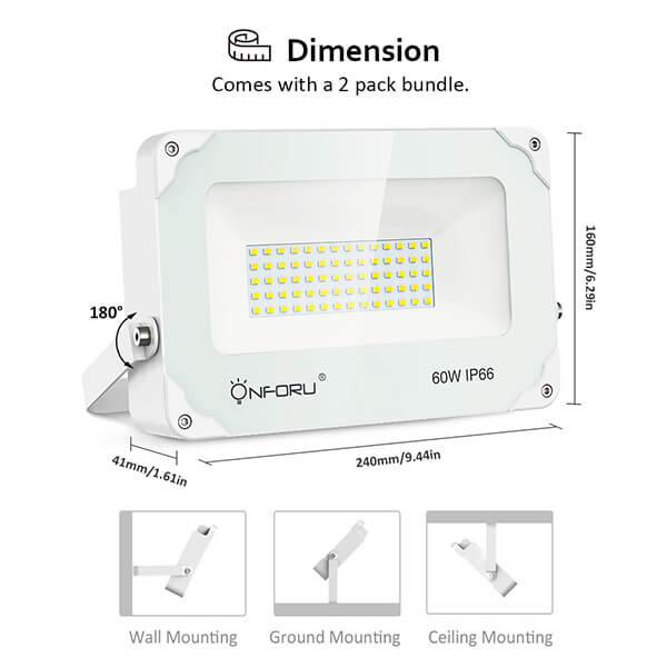 60W LED Flood Light Daylight White IP66 Outdoor Landscape Floodlight for Yard