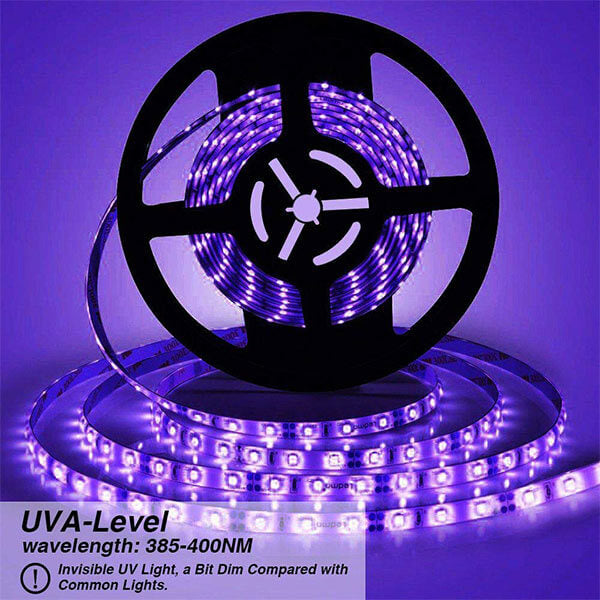 16.4ft 5m LED UV Blacklight Strip 12V 24W Flexible Black Light Fixtures with GS Adapter Non-Waterproof for Indoor Fluorescent Dance Party