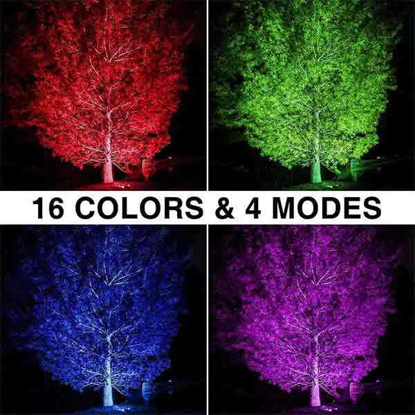Onforu 2 Pack 100W RGB LED Flood Lights with Remote Control, IP66 Waterproof Dimmable Color Changing Floodlight, 16 Colors 4 Modes Wall Washer Light, Outdoor Indoor Decorative Landscape Garden Light