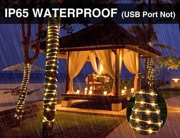 66ft 200 LED Rope Lights, 8 Modes Dimmable String Lights, USB 5V Waterproof Fairy Lights