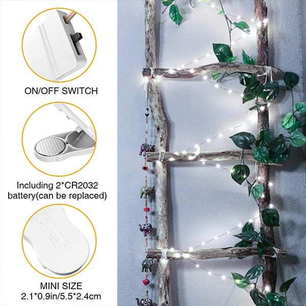 Onforu 10ft 16 Pack Fairy Lights, 30 LEDs Waterproof Outdoor Copper Wire String Lights, Battery Operated(Included) Mason Jar Lights, Firefly Starry Lights for DIY, Wedding, Party,Christmas, Cool White