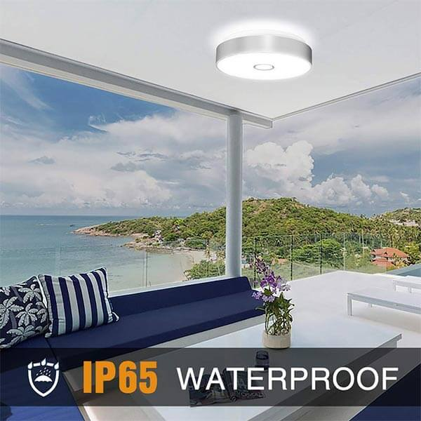 Onforu Waterproof 18W LED Ceiling Lights, CRI 90+, 11 inches, 150W Incandescent Bulbs Equivalent, IP65, 1600lm 5000K Daylight White Flush Mount Ceiling Light for Bathroom, Kitchen, Bedroom, Balcony