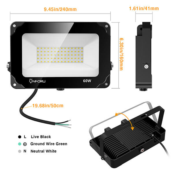 60W Dusk to Dawn Flood Light 2 Pack with Photocell, 6000lm LED Security Lights, IP66 Waterproof
