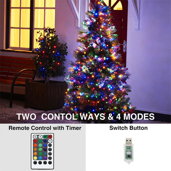 2 Pack 33ft RGB Fairy Lights, 16 Colors Changing Outdoor String Lights, 100 LED Starry Lights with Remote & Timer