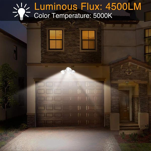 45W Dusk to Dawn LED Security Lights (Photocell Included), 4500lm 5000K IP65 Waterproof Outdoor Wall Mount Adjustable Dual-Head Flood Lights for Entryways, Front Door, Yard, and Garage.