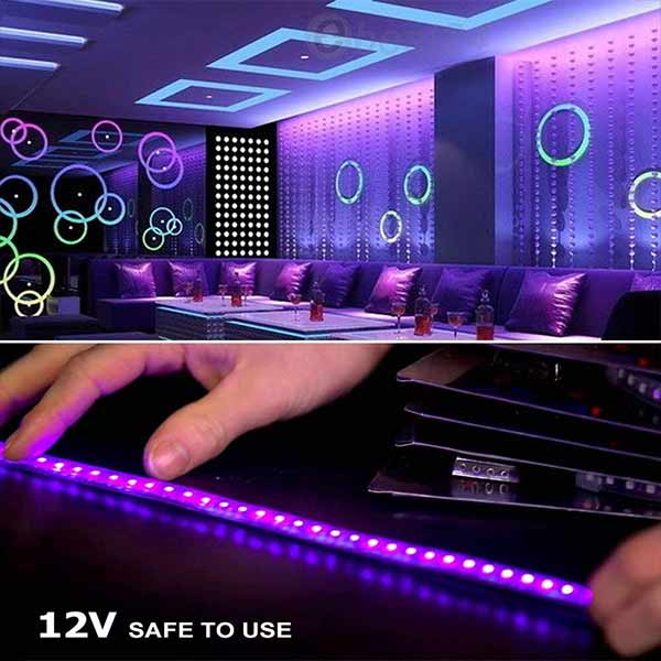 Onforu 16.4ft LED UV Black Light Strip Kit, 24W Flexible Blacklight Fixtures with 300 Units UV Lamp Beads, 12V Non-Waterproof Lights for Indoor Fluorescent Dance Party, Stage Lighting, Body Paint