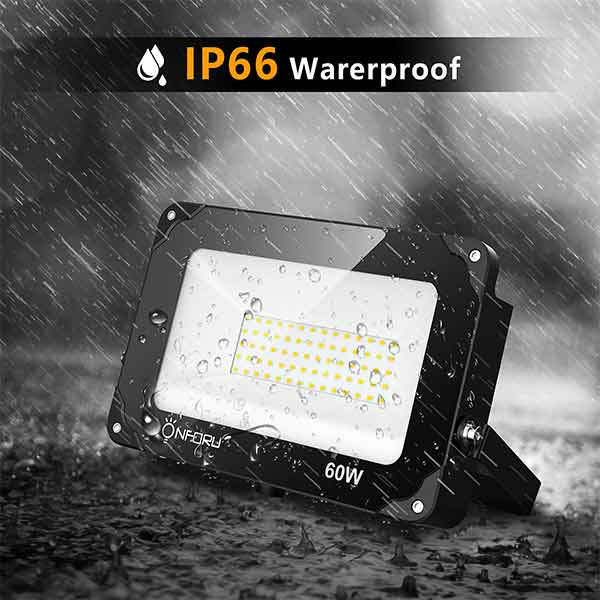 Onforu 2 Pack 60W Dusk to Dawn Flood Light with Photocell, 6000lm LED Security Lights, IP66 Waterproof Dusk to Dawn led Outdoor Lighting, 5000K Daylight White Wall Light for Garage Entryways Yard.