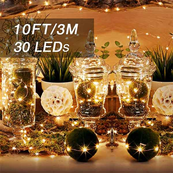 Onforu 10ft 16 Pack Fairy Lights, 30 LEDs Waterproof Outdoor Copper Wire String Lights, Battery Operated (Included) Mason Jar Lights, Firefly Starry Lights for DIY, Christmas, Wedding, Party, Warm White