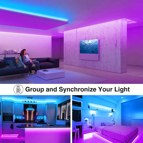 50ft Smart WiFi LED Strip Lights, Dimmable RGB LED Light Strip, Color Changing Tape Lights Compatible with Alexa, Google Assistant