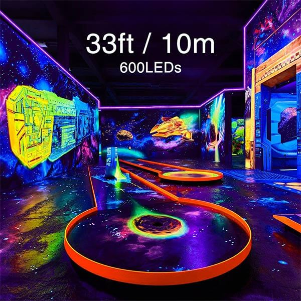 33ft LED UV Black Light Strip Kit 600 Units UV Lamp Beads 12V Flexible Blacklight Fixtures Non-Waterproof for Indoor Fluorescent Dance Party
