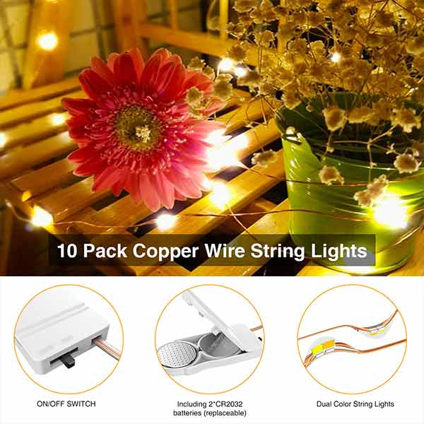 Onforu 60 LEDs Fairy Lights Battery Operated (Included), 9.8ft Cool White & Warm White Copper Wire String Lights, 10 Pack Waterproof Outdoor Firefly Starry Lights for DIY, Christmas, Wedding