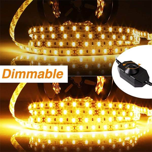 Onforu 66ft Dimmable LED Strip Lights Kit, UL Listed Power Supply, 3000K Warm White, 20m 1200 Units 2835 LEDs, 12V LED Rope, Under Cabinet Lighting Strips with Dimmer, Non-Waterproof LED Tape