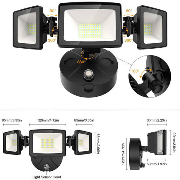 50W Dusk to Dawn Flood Light with Photocell, IP65 Waterproof Outdoor Three-Head Flood Lights, 5000K Daylight White Wall Light for Garage Entryways Yard