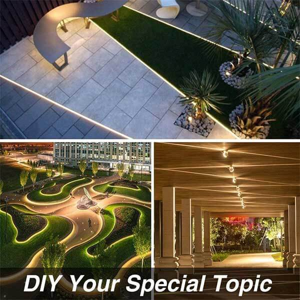 Onforu 50ft/15m Waterproof LED Strip Lights Kit, 3000K Warm White, 12V Flexible LED Rope with 450 Units 2835 LEDs, UL Listed Power Supply with Switch, IP65 Waterproof for Indoors and Outdoors