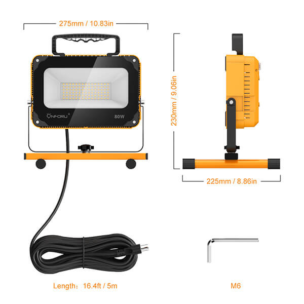 Onforu 80W 8000LM LED Work Light with Cooling Fan, 800W Equivalent, 2 Brightness Levels, 16.4ft Cord with Plug, Flood Lights with Stand for Workshop, Construction Site, 5000K Daylight White.