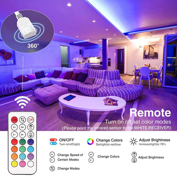 66ft Smart WiFi LED Strip Lights, 20m Alexa Color Changing Tape Lights,remote control