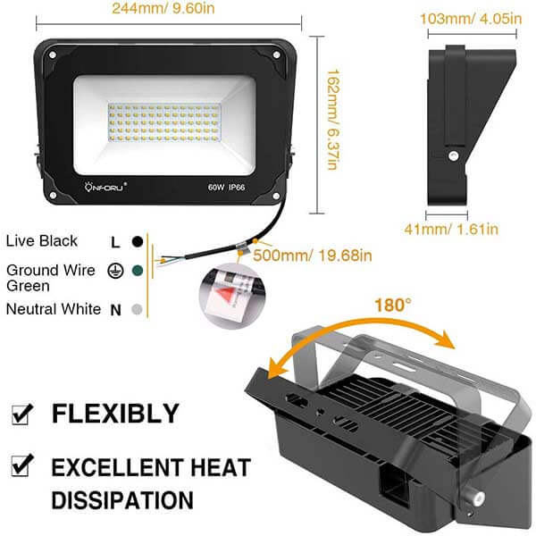 60W LED Flood Light with Light Shield, 6000lm Super Bright Security Lights 2 Pack