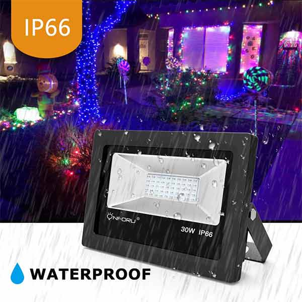 Onforu 2 Pack 30W UV LED Black Lights Flood Light with Plug(5ft Cable), IP66 Waterproof, for Blacklight Party, Stage Lighting, Aquarium, Body Paint, Fluorescent Poster, Neon Glow, Glow in The Dark