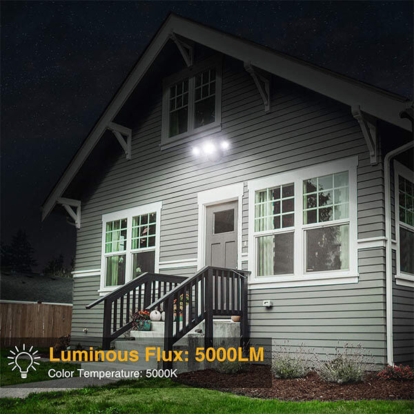 5000LM Super Bright Outdoor Flood Light 3 Adjustable Heads Floodlight 2 Pack IP65 Waterproof