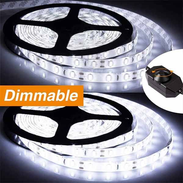 Onforu 33ft Dimmable LED Strip Lights Kit, 600 Units 2835 LEDs, 12V Under Cabinet Lighting Strips, 10m LED Ribbon, Non-Waterproof Tape, 5000K Daylight White