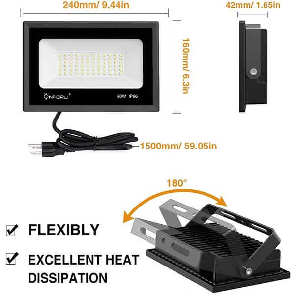 Onforu 2 Pack 60W LED Flood Light with Plug, 6,500lm Super Bright Work Light, 5000K Daylight White Security Lights, IP66 Waterproof Outdoor Landscape Floodlight for Yard, Garden, Playground, Party.