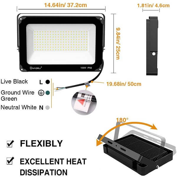 Onforu 150W LED Flood Light, 15,000lm 5000K Daylight White, IP66 Waterproof Super Bright Security Lights, Outdoor Floodlight for Yard, Garden, Playground, Basketball Court