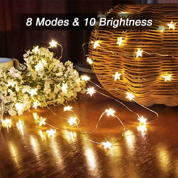 16.4ft Star Fairy Lights 6 Pack, 8 Modes Remote Control Outdoor 50 LED String Lights, Warm White