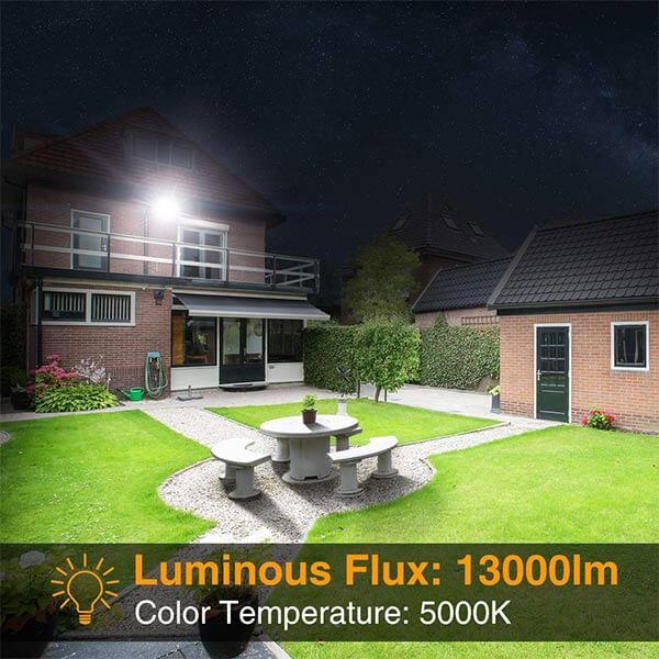 120W Dusk to Dawn LED Flood Light with Photocell, IP66 Waterproof Super Bright Security Lights
