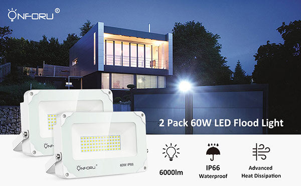 Onforu 2 Pack 60W LED Flood Light, 6000lm Super Bright Security Lights, 5000K Daylight White, IP66 Waterproof Outdoor Landscape Floodlight for Yard, Garden, Playground, Party