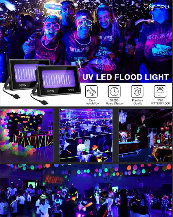 Onforu 2 Pack 100W UV LED Black Light, Ultraviolet Outdoor Flood Light, IP66 Waterproof with Plug for Dance Party, Stage Lighting, Body Paint, Aquarium
