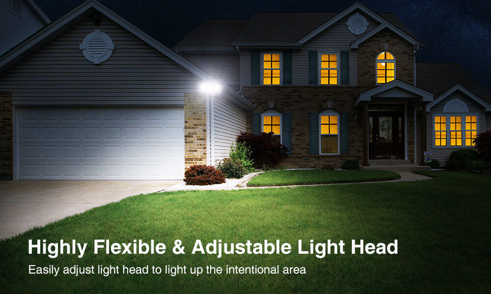 50W Outdoor Flood Light 2 Pack, Super Bright IP65 Waterproof Square LED Security Light with 3 Adjustable Heads