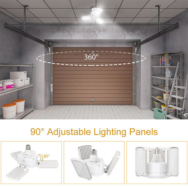 50W E26 LED Garage Lights 2 Pack 5500LM Bright LED Shop Light, 5000K Daylight White Triple Glow Light