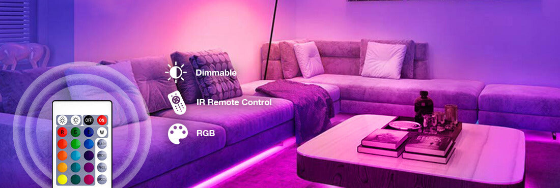 66ft RGB LED Strip Lights, 20m Color Changing Dimmable Tape Lights