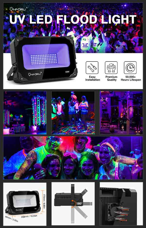 Onforu 80W UV LED Black Light with Cooling Fan, UV Flood Light with Plug for Dance Party, Stage Lighting, Glow in The Dark, Aquarium, Body Paint, Fluorescent Poster, Neon Glow.
