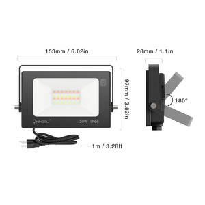 20W RGB LED Flood Lights 4 Packs with Remote Control, IP66 Waterproof Dimmable Color Changing Floodlight