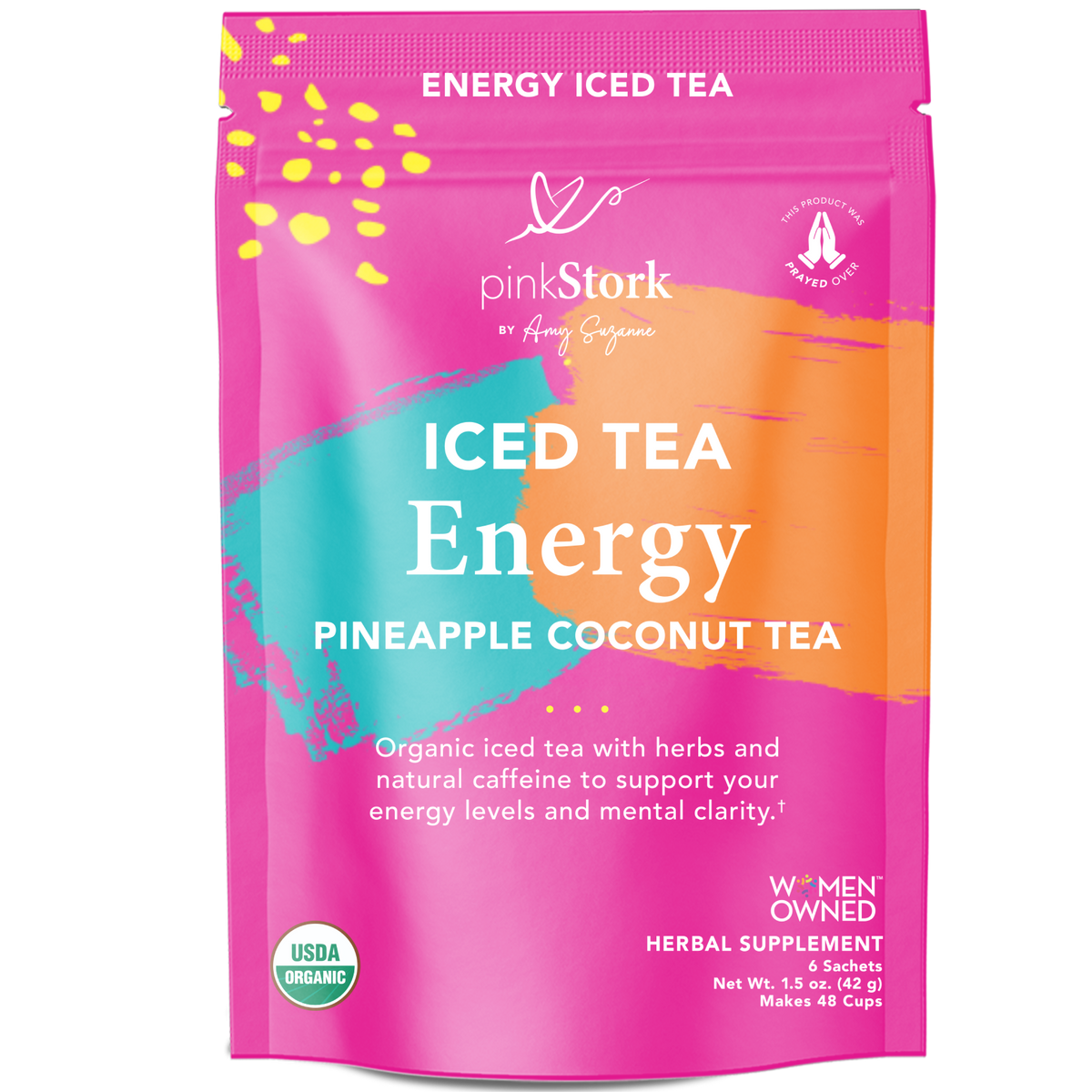 Iced Energy Tea: 48 Cups - Pink Stork