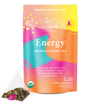 Energy Tea: 30 Cups - Pink Stork. Front of Pouch. Energy Support Tea. Energy, Pineapple Coconut Tea. Organic tea with herbs and natural caffeine to support your energy levels and mental clarity. USDA Organic. Women Owned. Herbal Supplement. 15 Pyramid Sachets. Net Wt. 1.3 oz (37.5 g). Makes 30 cups.
