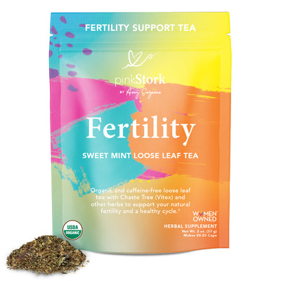 Loose Leaf Fertility Tea: 20-25 Cups - Pink Stork. Fertility Support Tea. Fertility, Sweet Mint Loose Leaf Tea. Organic and caffeine-free tea with Chaste Tree and other herbs to support your natural fertility and a healthy cycle. USDA Organic. Women Owned. Herbal Supplement. Net Wt. 2 oz. (57 g), Makes 20-25 Cups.