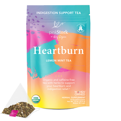 Heartburn Tea: 30 Cups - Pink Stork. Front of Pouch. Indigestion Support Tea. Heartburn, Lemon Mint Tea. Organic and caffeine-free tea with herbs to support your heartburn and indigestion relief. USDA Organic. Women Owned. Herbal Supplement. 15 Pyramid Sachets. Net Wt. 1.3 oz (37.5 g). Makes 30 cups.